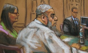 A courtroom sketch shows Khalid al-Fawwaz at the New York federal court