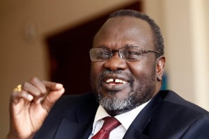South Sudan's rebel leader Riek Machar speaks during an interview with Reuters in his office in Addis Ababa