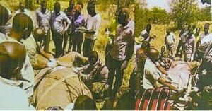 Maofi sa wa Wizara ya Maliasili na Utalii, wataalamu kutoka Chuo Kikuu cha Kilimo Sokoine (SUA), wafanyakazi wa Shirika la Hifadhi za Taifa (TANAPA) na maofi sa Taasisi ya Wanyamapori Tanzania (TAWIRI) wakiwamo madaktari, wakifanya uchunguzi wa Faru John baada ya kufa katika eneo la Sasakwa Grumeti.